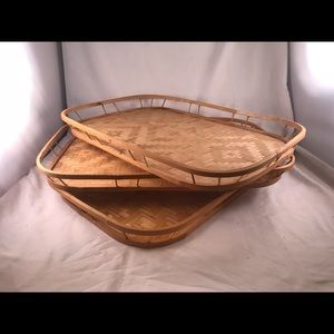 Set of 3 Vintage Bamboo Woven Breakfast Tiki Tray